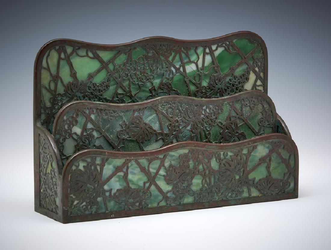 Tiffany Studios NY bronze grapevine letter rack