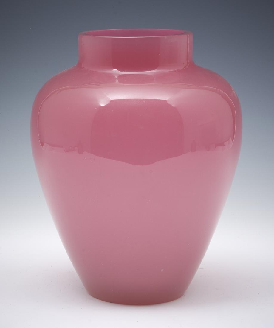Pink cased glass large vase