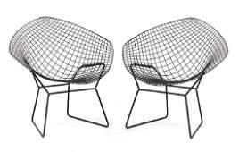 """Pair of Bertoia """"Diamond"""" iron chairs"""