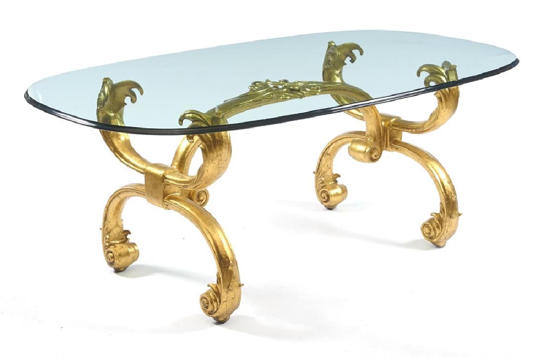 20th c Dining table, glass top with gilt metal scroll