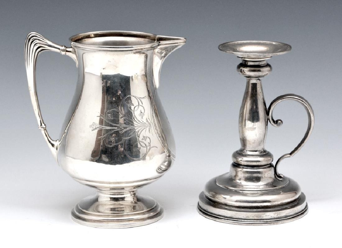Whiting sterling silver milk pitcher and candle holder