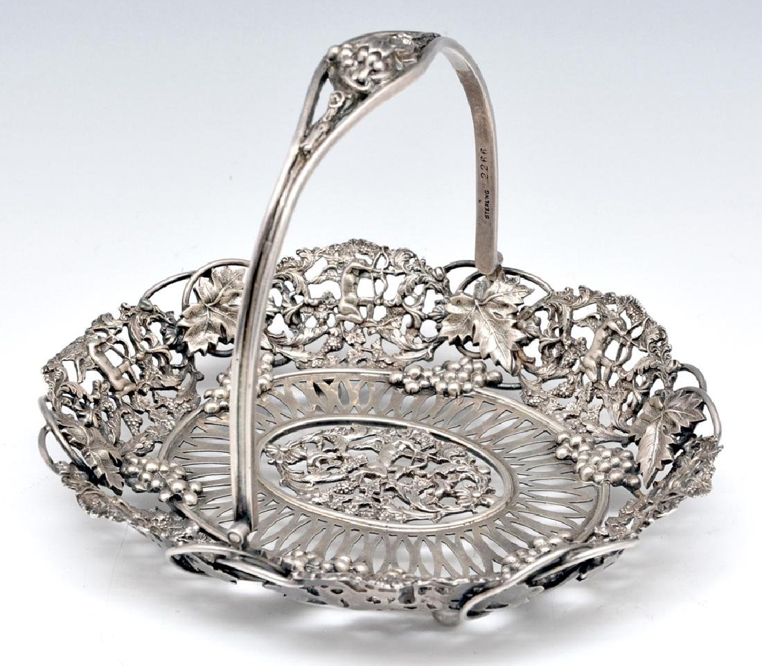 Theodore Starr sterling silver handled basket