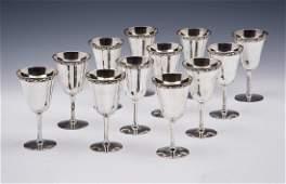 Set of 12 Cased Old Friend sterling silver wine goblets