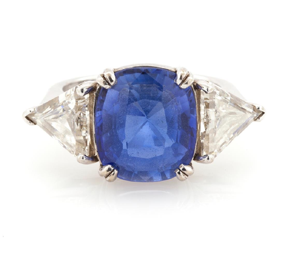 14kwg 6.72ct Ceylon sapphire and diamond ring