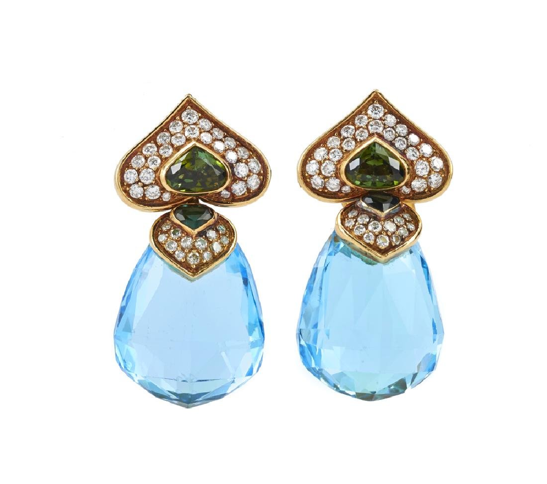 "Bulgari ""Marina B"" Gemstone & Diamond Earrings"