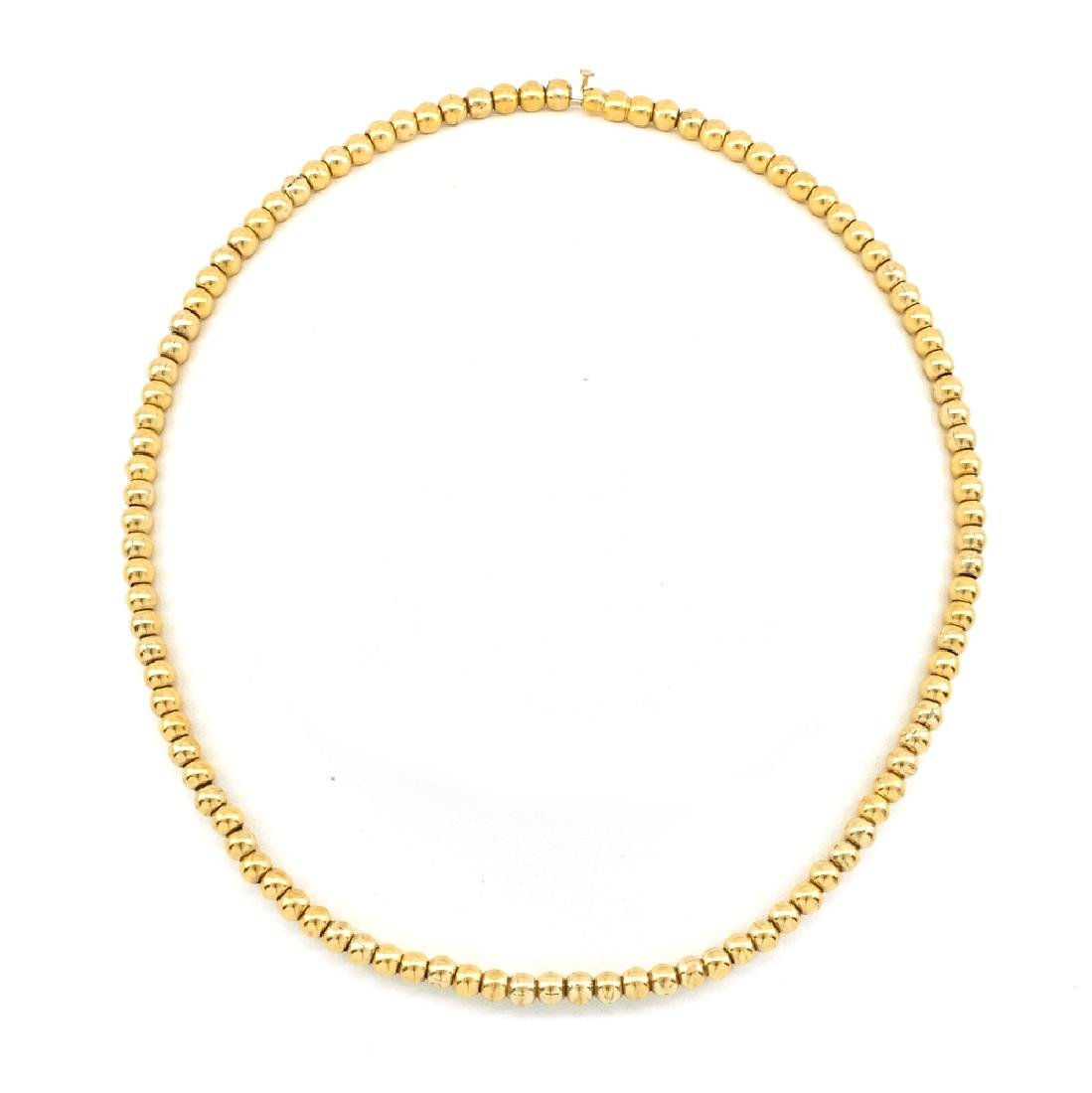 14k Yellow gold Victorian bead necklace.