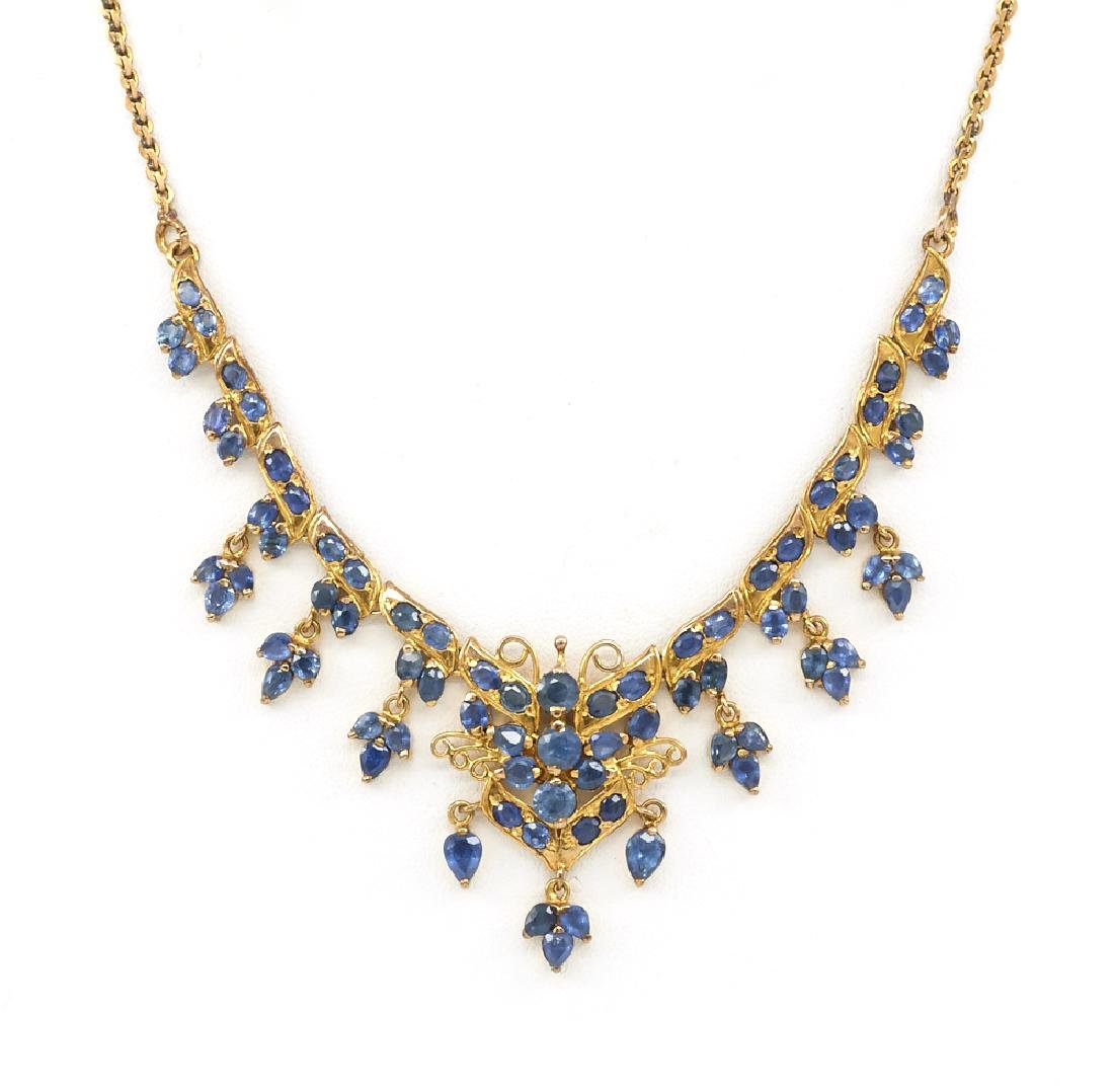 18k Yellow gold and sapphire necklace.