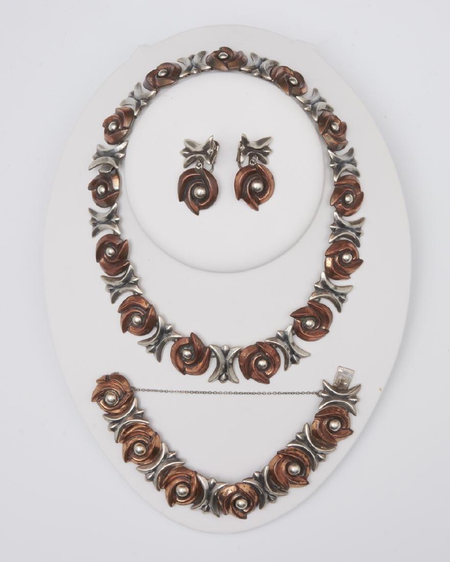 Los Castillo sterling silver & copper necklace,