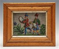 """19th c Beaded Chinoiserie picture, musicians, 4"""" x 6"""""""