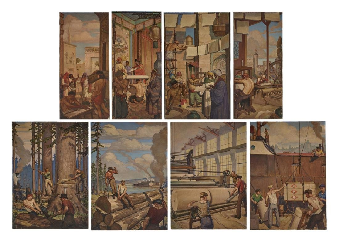 Warren Chase Merritt 8 panel mural, History of Paper