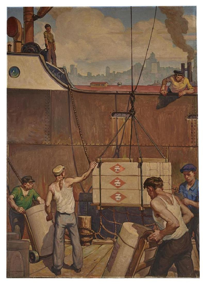 Warren Chase Merritt 8 panel mural, History of Paper - 9