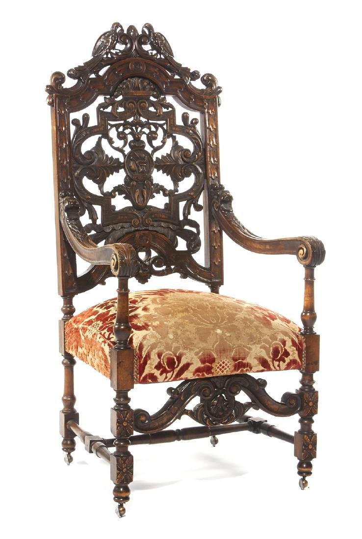 Continental Carved Walnut Armchair