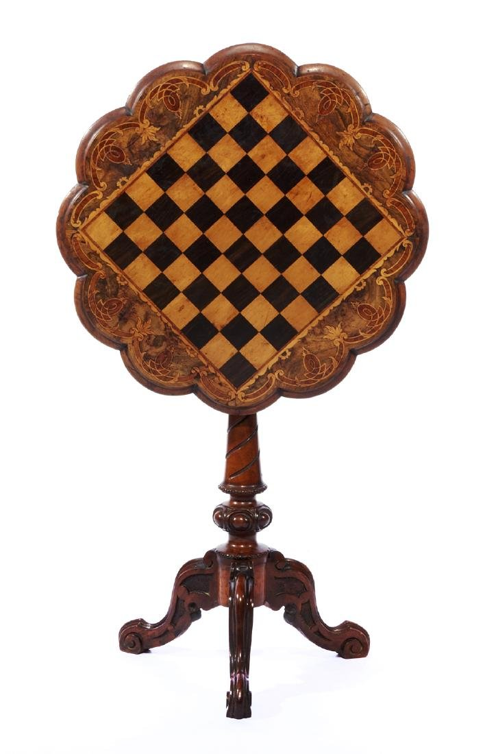 19th c Games table with tilt chess board top