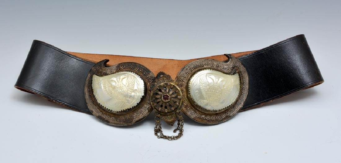 Russian pafti belt buckle, silver and mother of pearl
