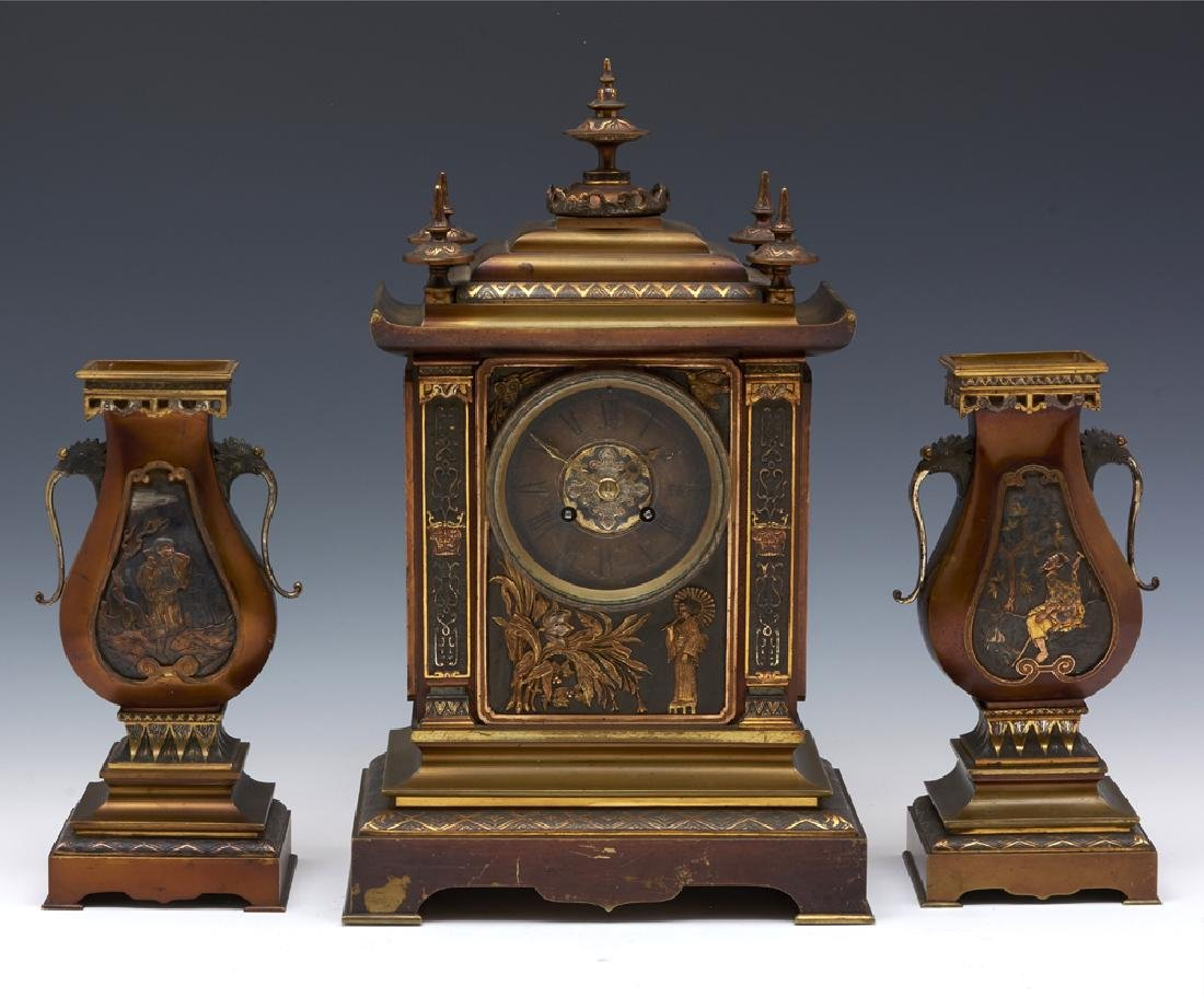French Achille Brocot bronze three pc japanesque clock