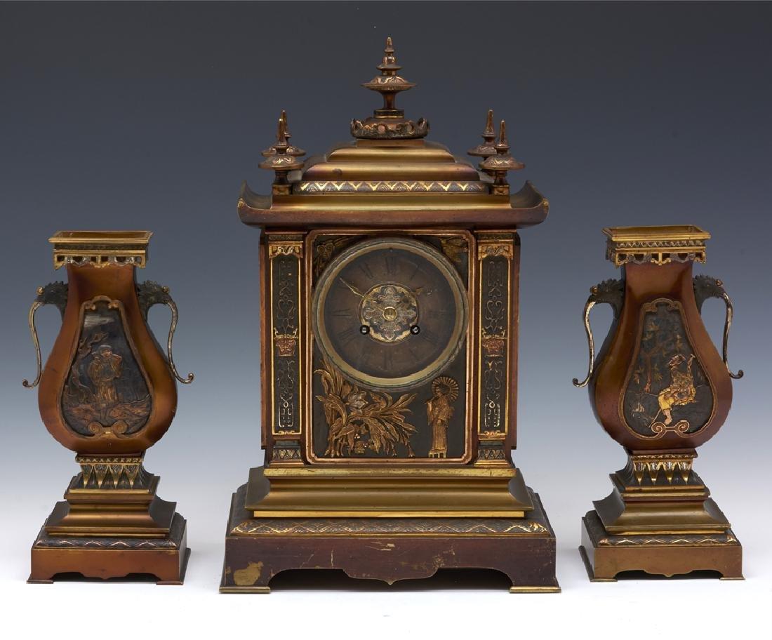 French Achille Brocot bronze three pc japanesque clock