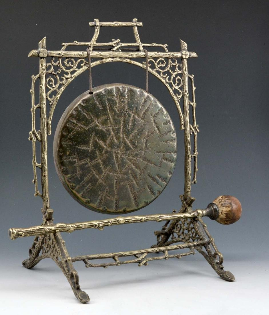Asian brass gong with original mallet