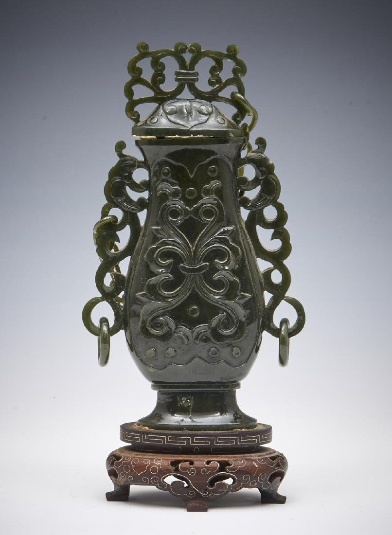 """Chinese carved green jade urn on stand, 7"""""""