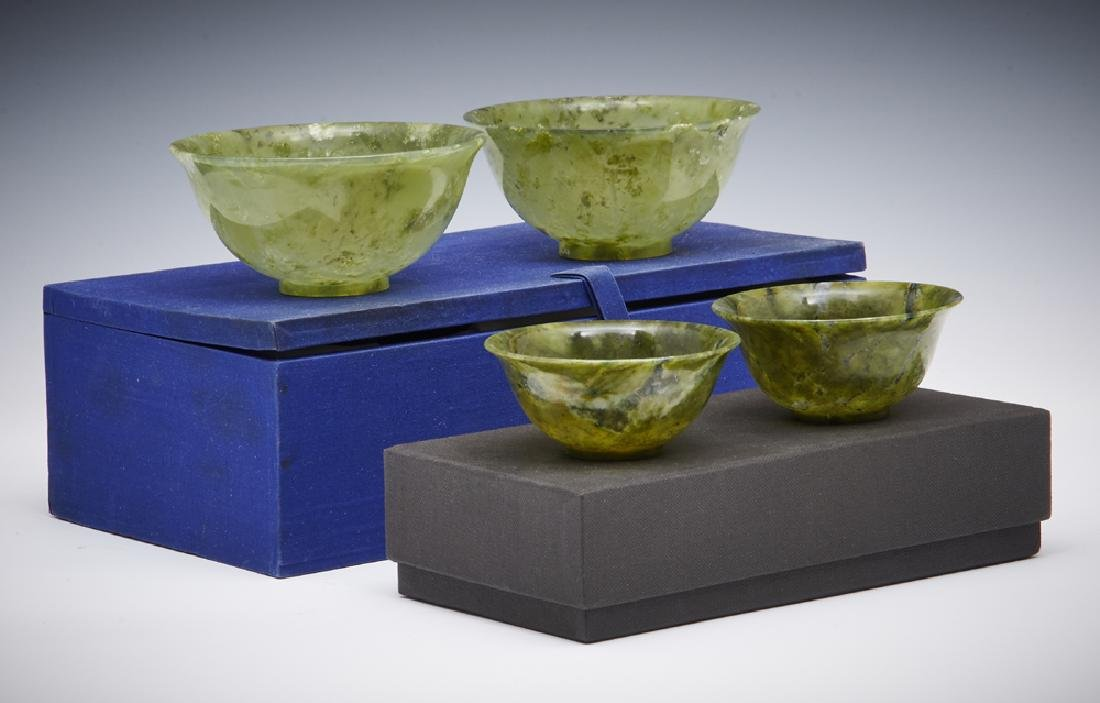 2 Pair of jade rice bowls with boxes
