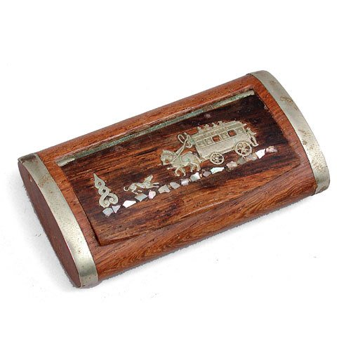 4: 19th C. Snuff With Silver Inlay.