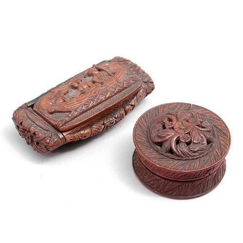 8: Lot Of Two Carved Fruitwood Snuffs.