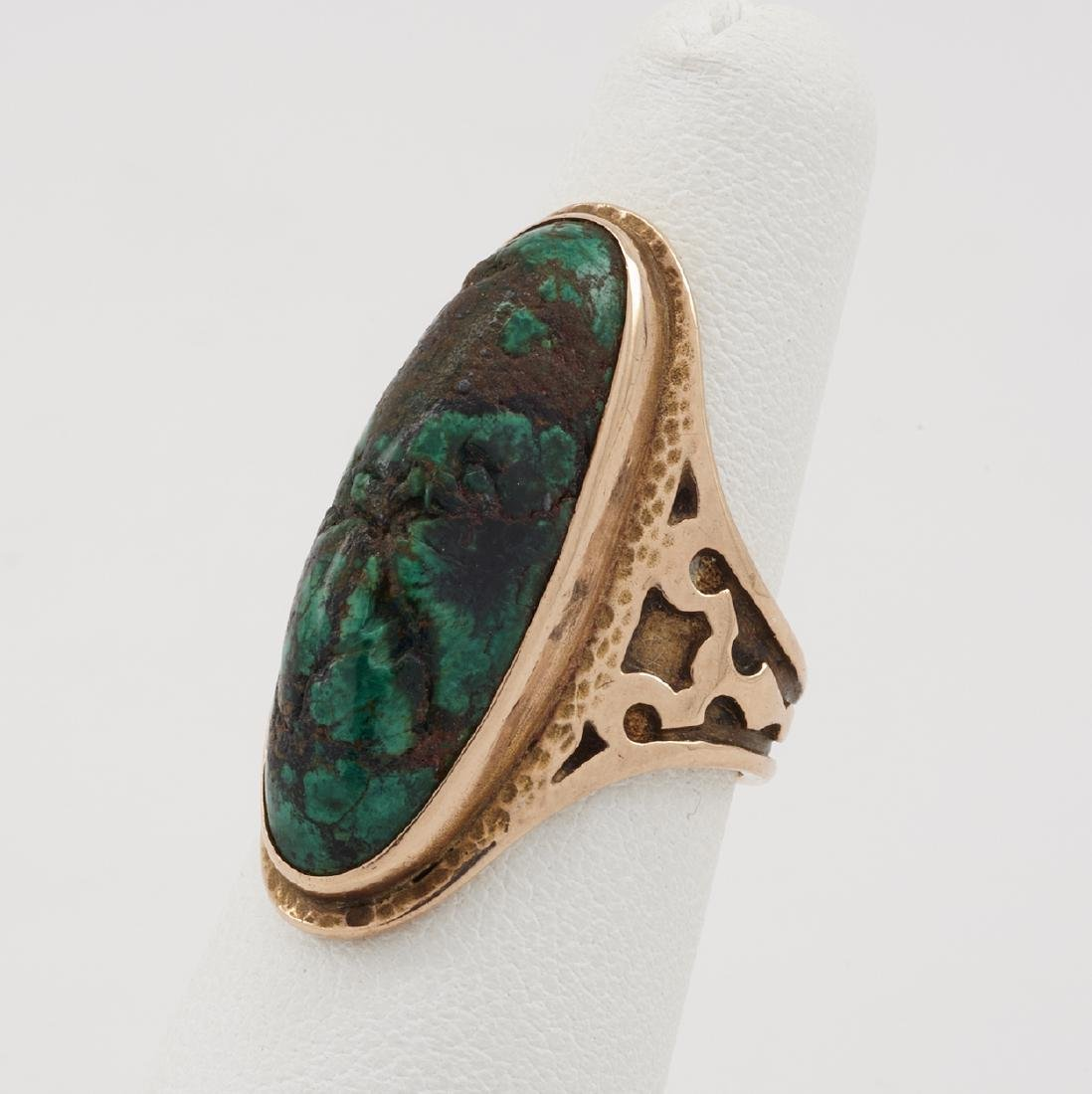 14k Yellow gold, turquoise, Arts & Crafts style ring