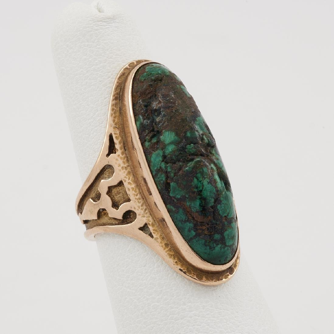 14k Yellow gold, turquoise, Arts & Crafts style ring - 3