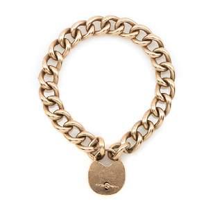 14k Rose gold heart lock bracelet, 28.2g.