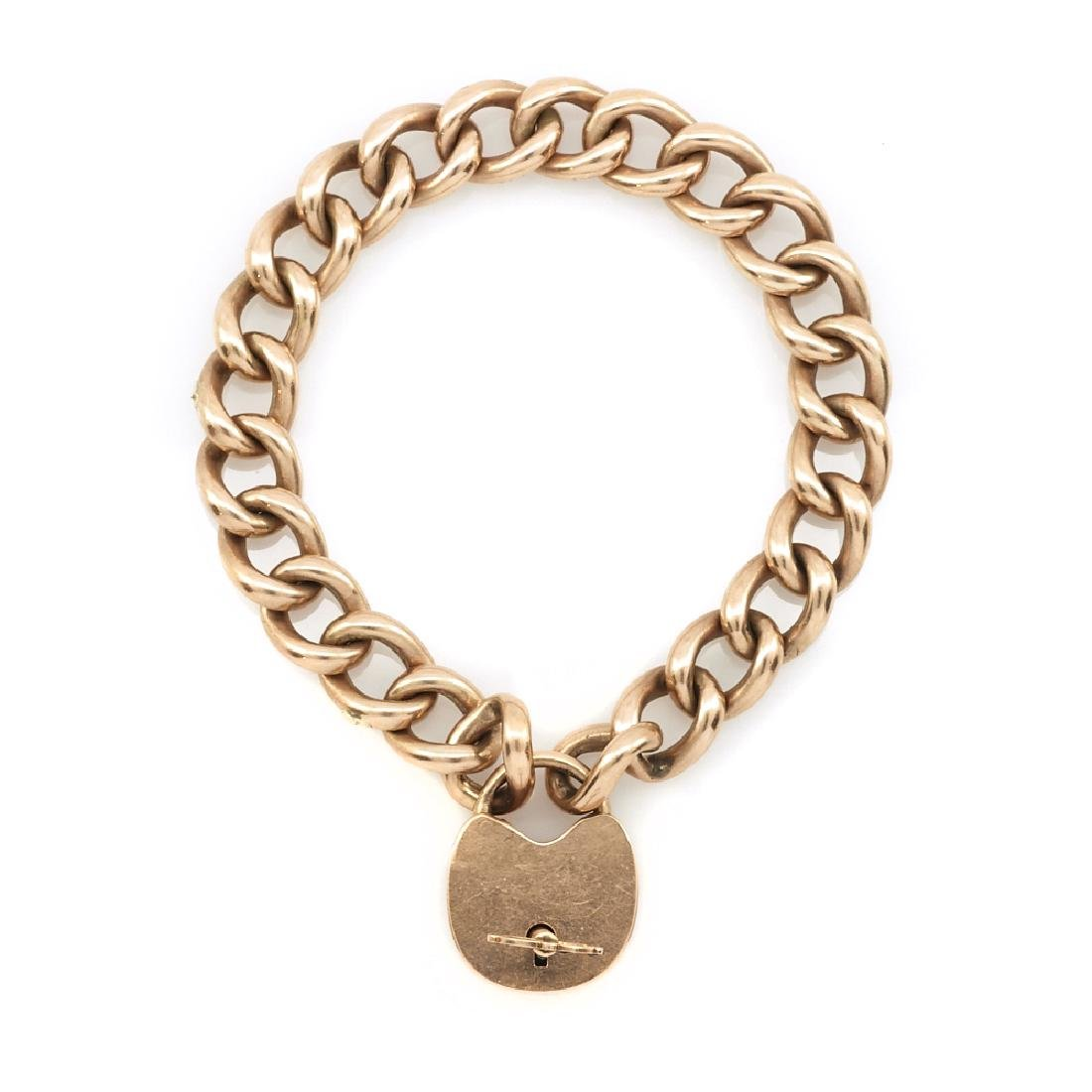 14k Rose gold heart lock bracelet, 28.2g.