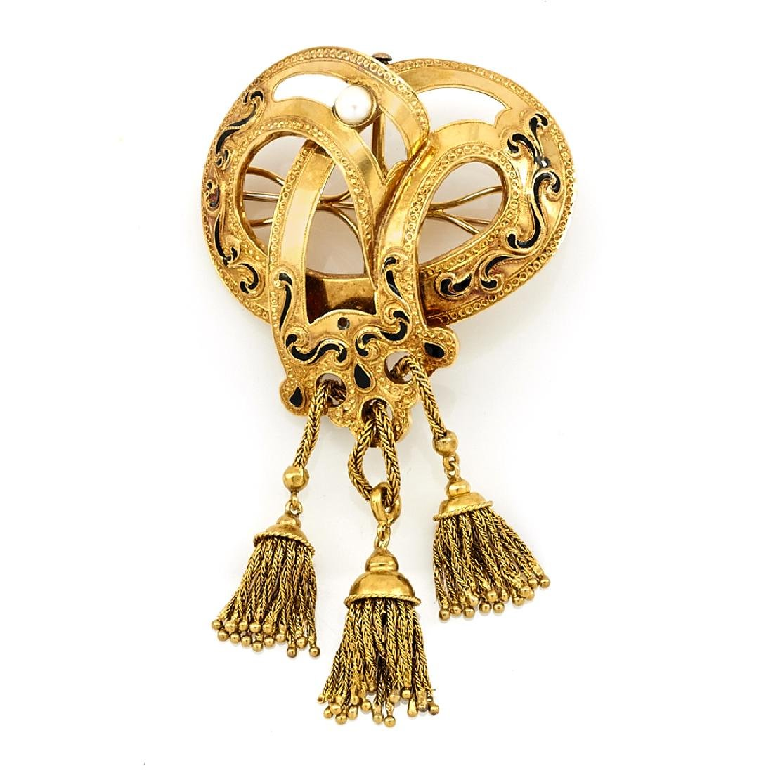 18k Yellow gold, black enamel & pearl Victorian tassel