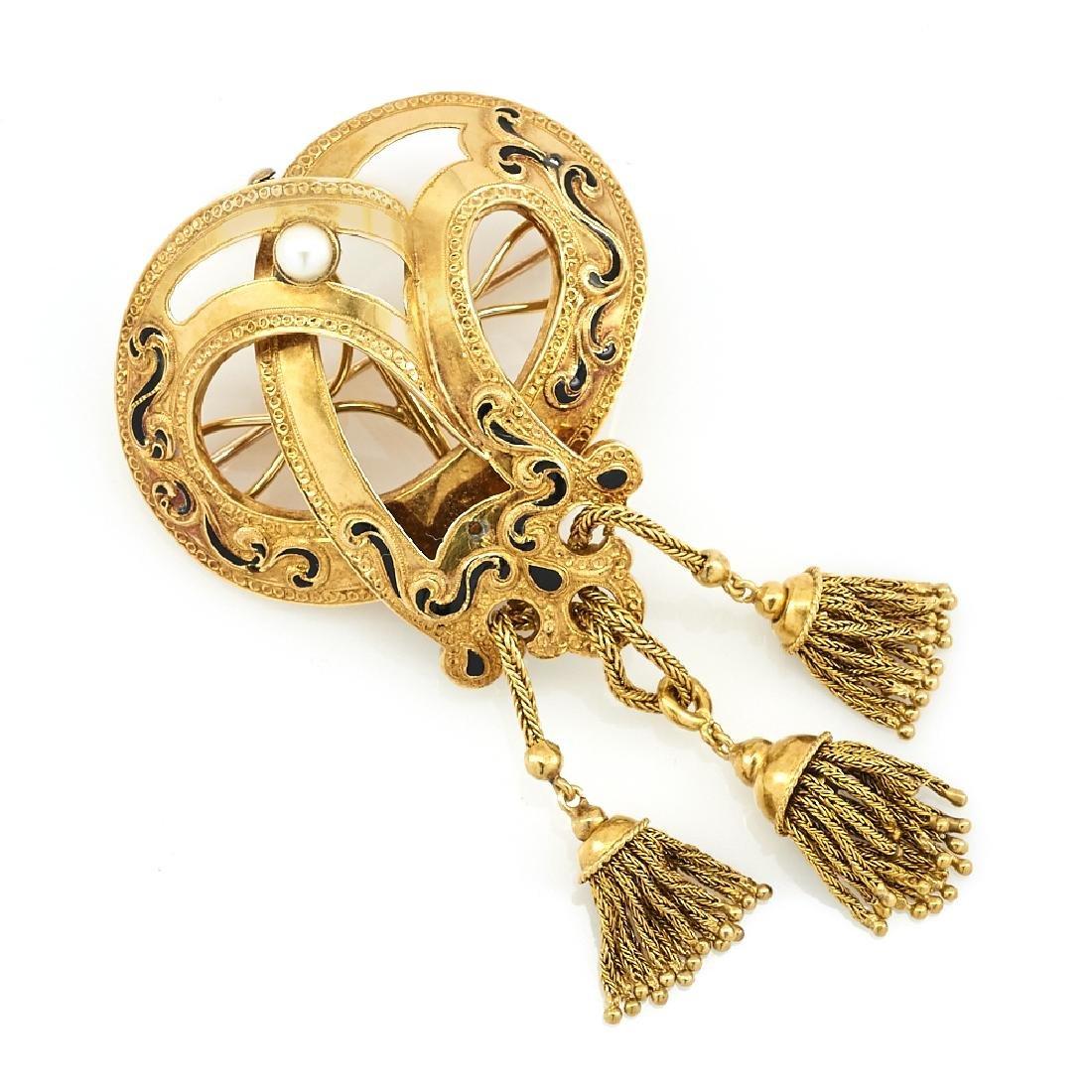 18k Yellow gold, black enamel & pearl Victorian tassel - 2