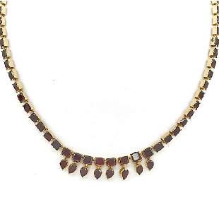 9K Yellow gold & garnet Victorian necklace