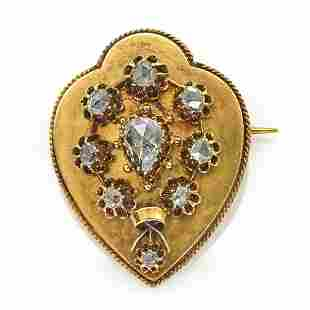 14k Yellow gold & rose-cut diamond Victorian brooch