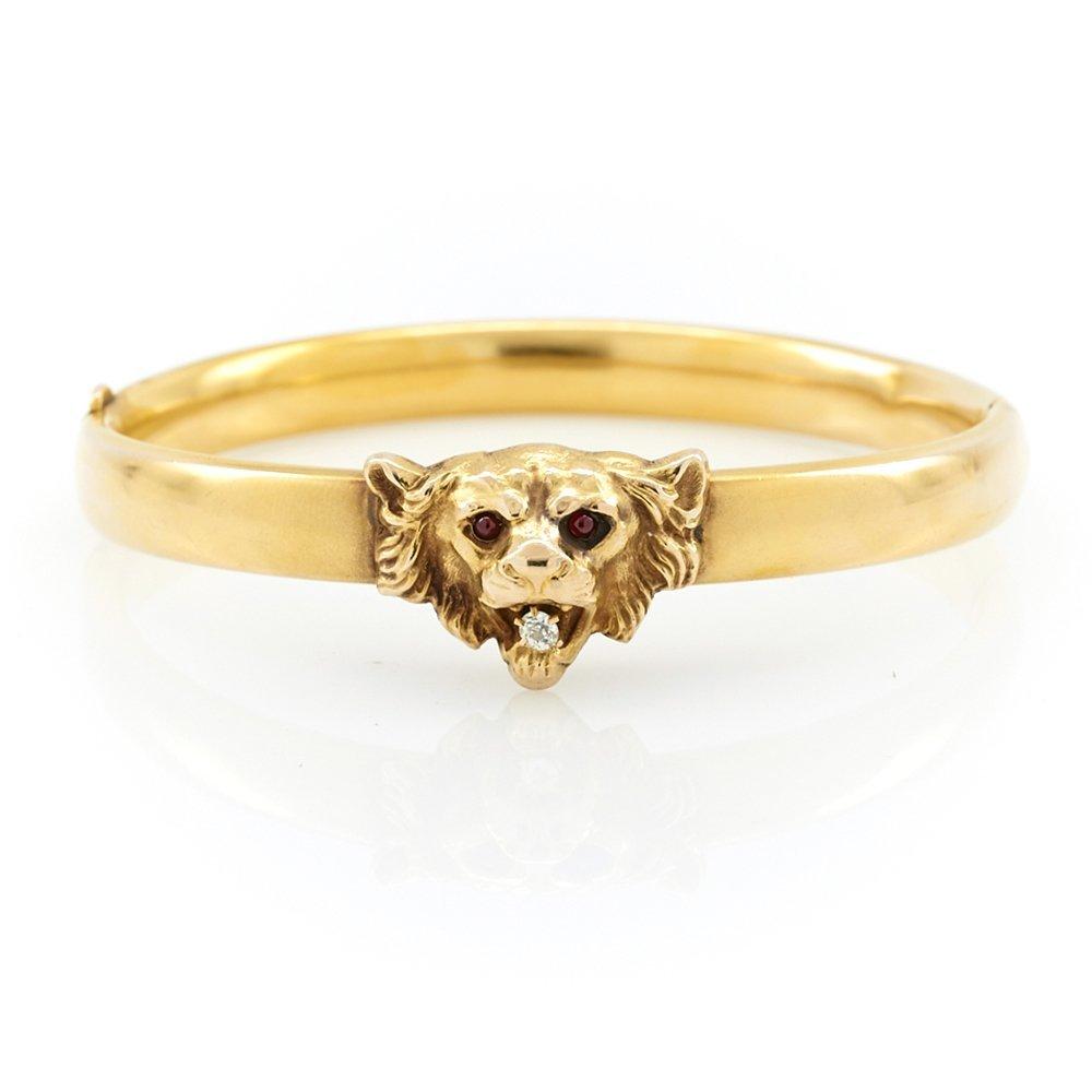 14k Yellow gold, diamond & garnet Victorian lion head