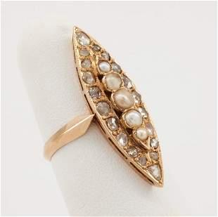18k Rose gold, pearl & diamond navette ring