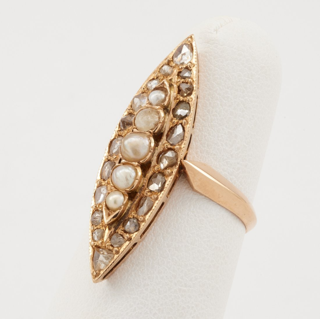 18k Rose gold, pearl & diamond navette ring - 2