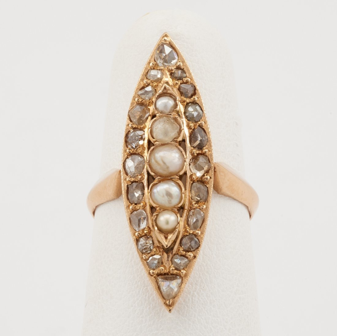 18k Rose gold, pearl & diamond navette ring - 3