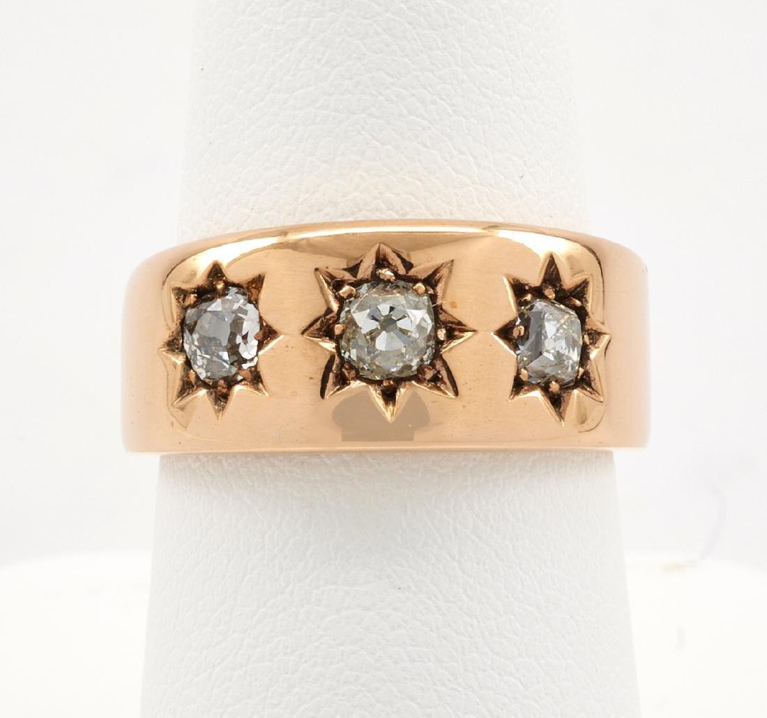14k Rose gold ring band with three star set diamonds