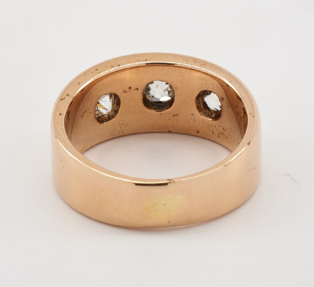 14k Rose gold ring band with three star set diamonds - 2