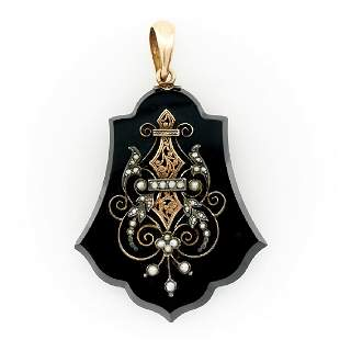 14k Rose gold, onyx & seed pearl Victorian mourning