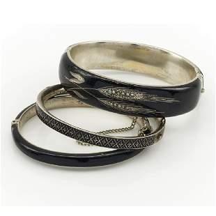 Lot of three sterling silver Victorian black enamel