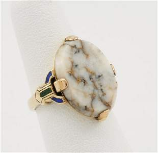 14k Yellow gold & gold quartz ring with inlaid