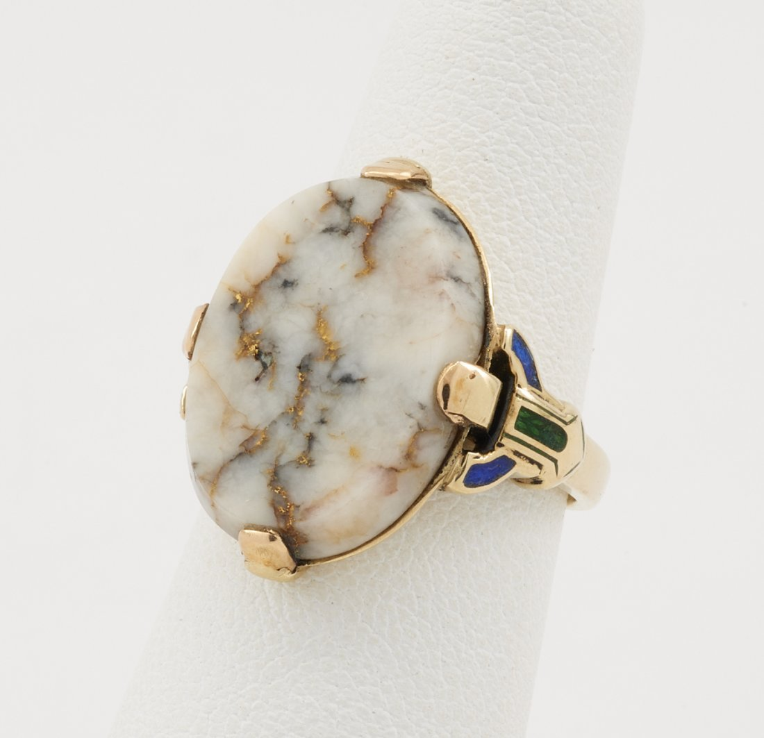 14k Yellow gold & gold quartz ring with inlaid - 2
