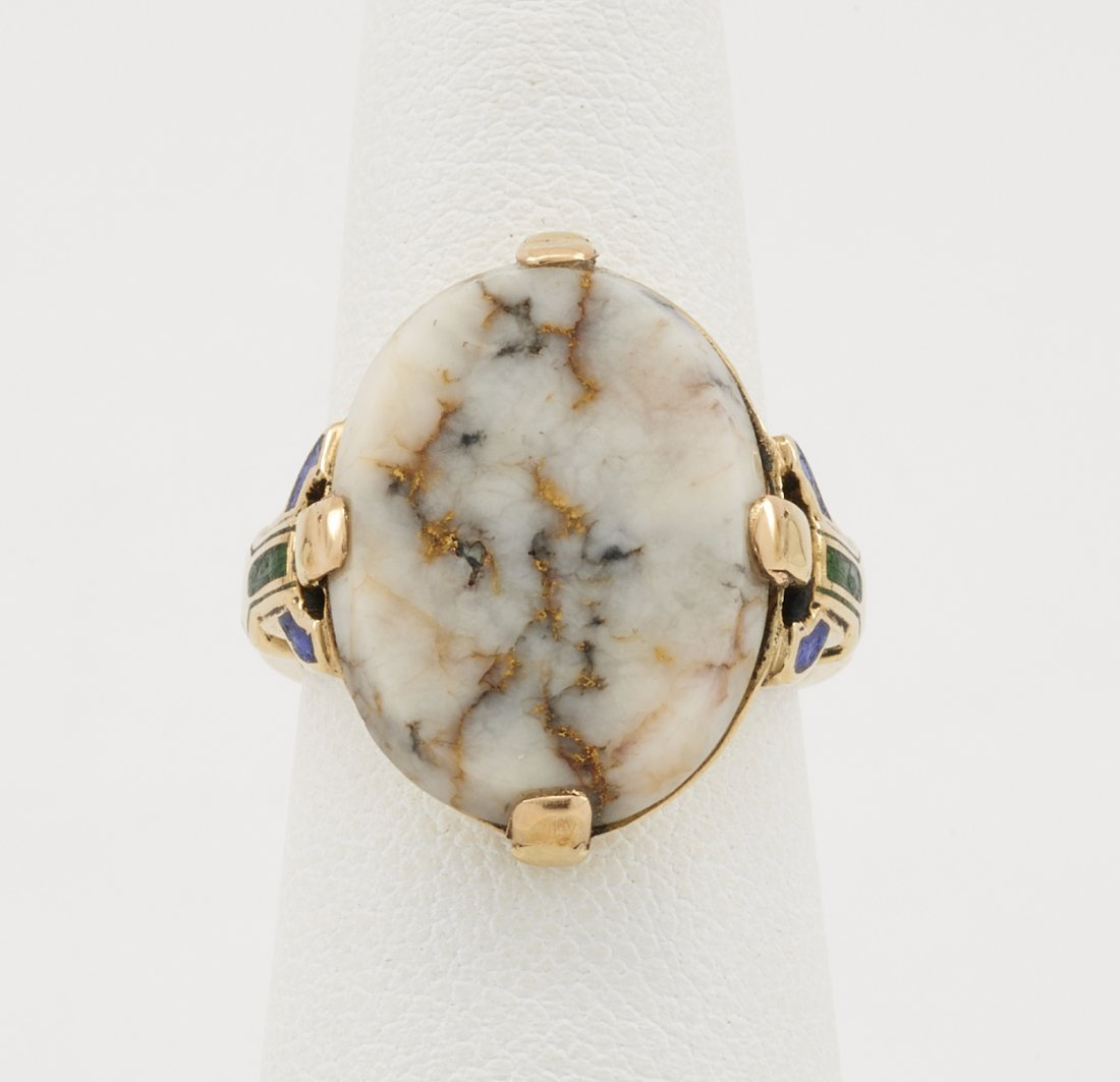 14k Yellow gold & gold quartz ring with inlaid - 3