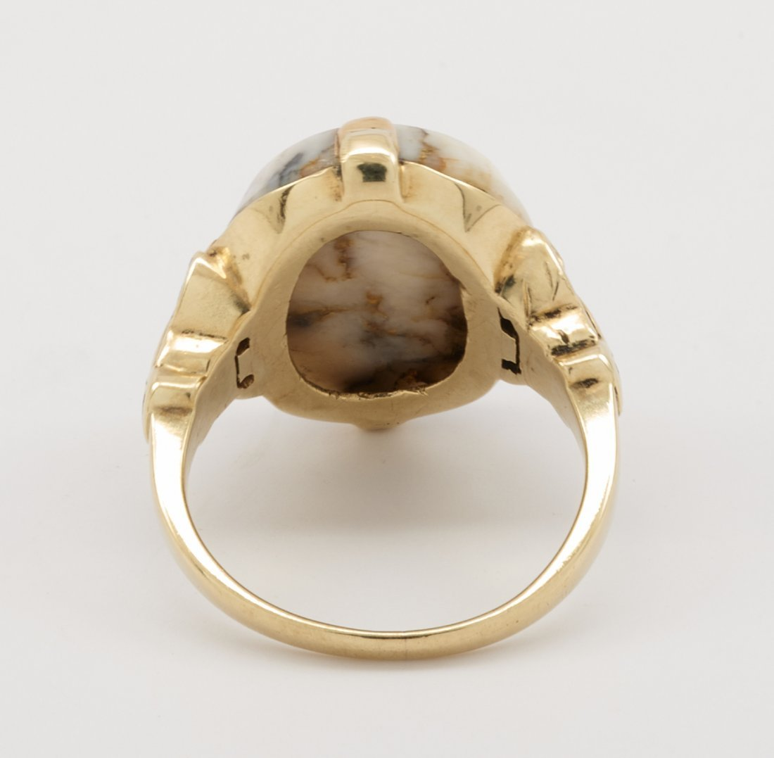 14k Yellow gold & gold quartz ring with inlaid - 4