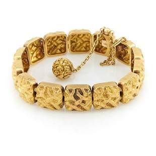 "k Yellow gold Victorian ""nugget"" bracelet."