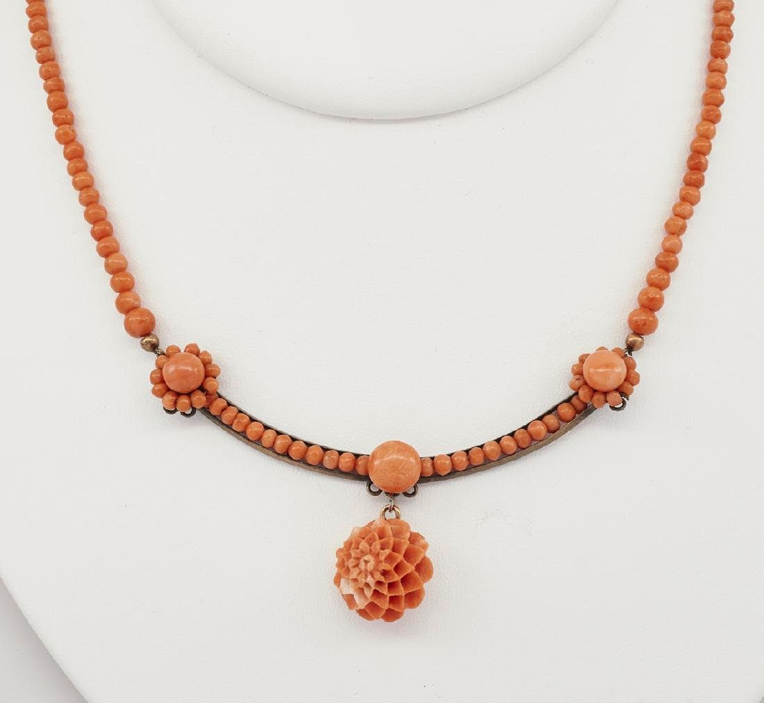 Victorian carved coral necklace with flower