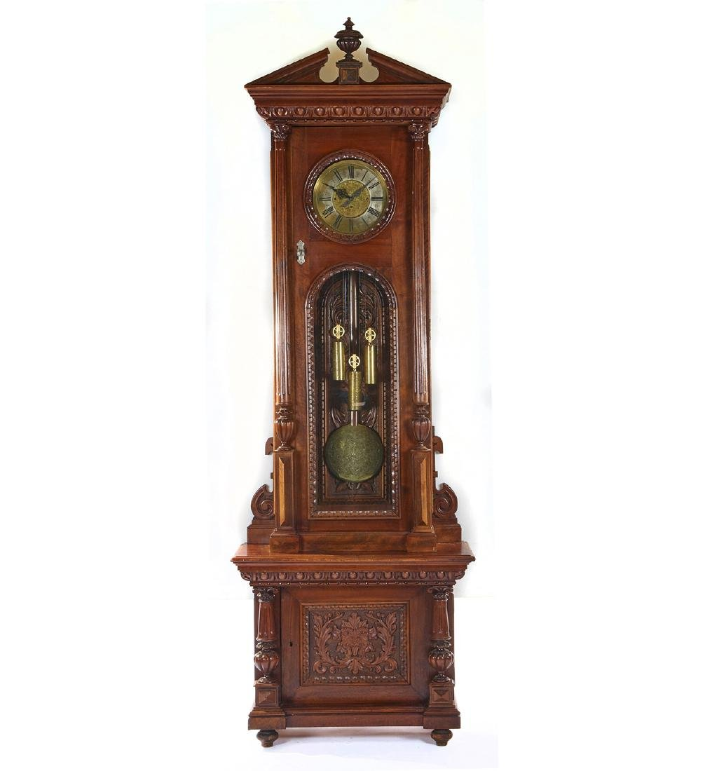 Vienna regulator tall case clock, signed Alois Sutz