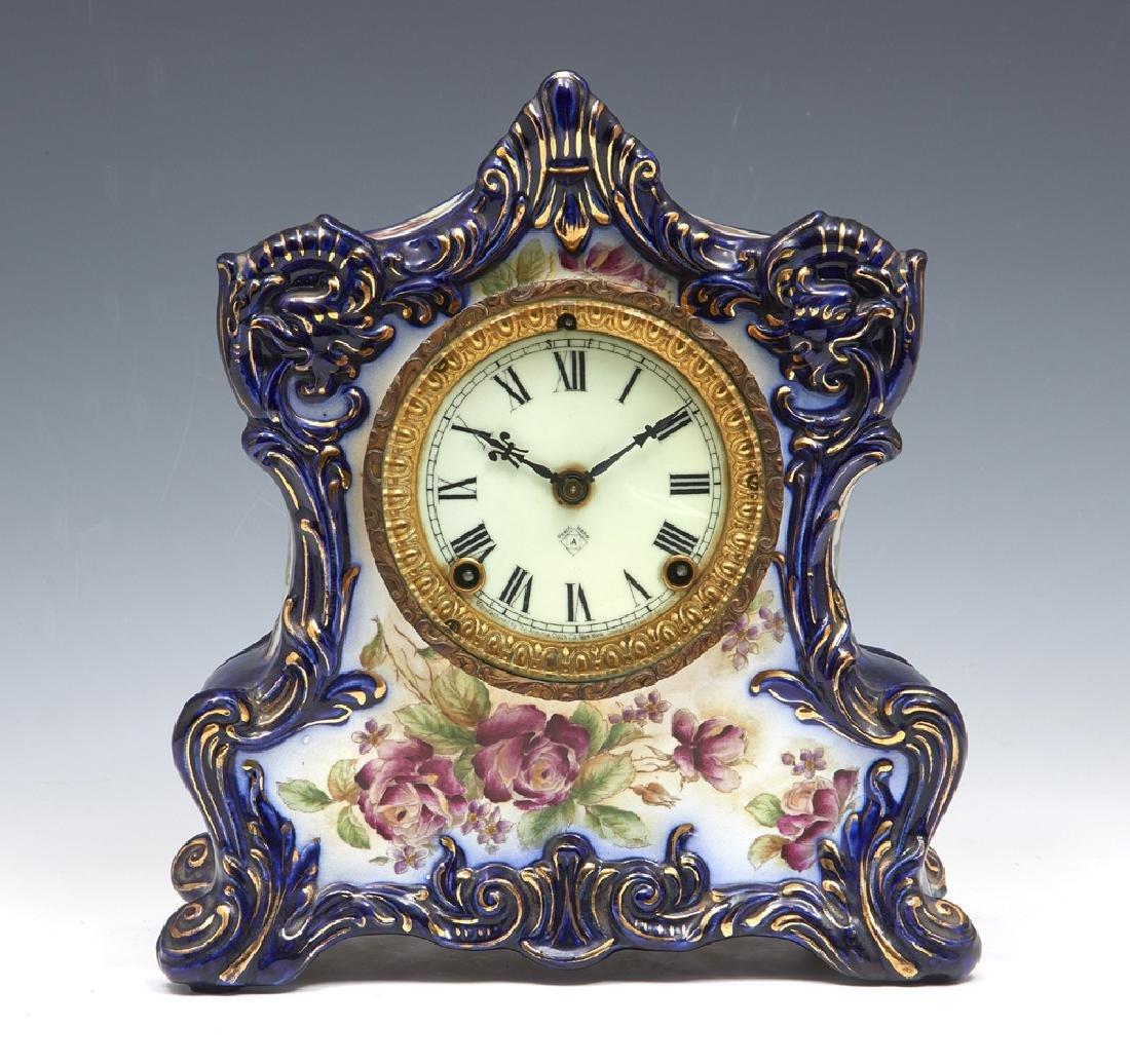 "Ansonia porcelain case mantle clock, ""Wampum"""