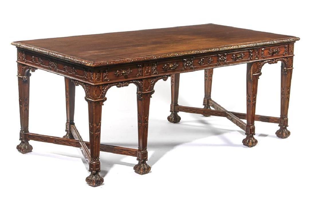 English mahogany Jacobean style 8 leg desk